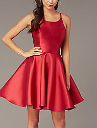 cheap -A-Line Beautiful Back Reformation Amante Homecoming Cocktail Party Dress Spaghetti Strap Sleeveless Short / Mini Satin with Sleek 2021