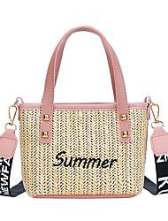 cheap -Women's Girls' Bags PU Leather Straw Crossbody Bag Zipper Classic Fashion Daily Date Retro Straw Bag Handbags Blushing Pink White Black Brown