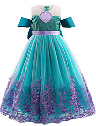 cheap -Kids Little Girls' Dress The Little Mermaid Floral Tulle Dress Party Festival Embroidered Mesh Bow Purple Green Cotton Midi Sleeveless Princess Sweet Dresses Summer Regular Fit 3-10 Years / Satin