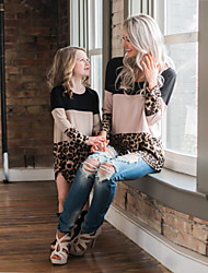 cheap -Tops Mommy and Me Color Block Leopard Patchwork Black Long Sleeve Above Knee Matching Outfits