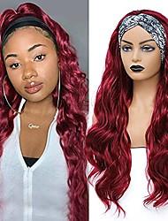 cheap -wine red body wave headband wig synthetic headband wigs for black women 26 inch long wavy burgundy red colored headband wig for women girls' daily wear (no colored headband)