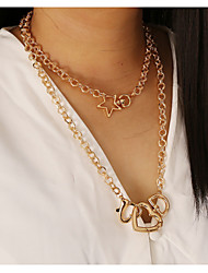 cheap -fashion punk style alloy love star pendant clavicle chain creative women's necklace
