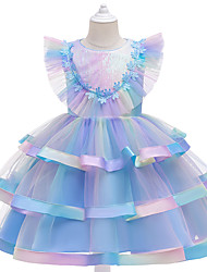 cheap -Princess Fairytale Dress Party Costume Flower Girl Dress Girls' Movie Cosplay Movie / TV Theme Costumes Cosplay Lolita Blue Pink Dress Christmas Halloween Children's Day Polyester Organza