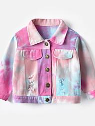 cheap -Kids Girls' Jacket & Coat Long Sleeve Blushing Pink Orange Light Green Tie Dye Print Cotton School Outdoor clothing Casual / Daily Active Short 3-8 Years / Fall
