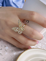 cheap -14k real gold crystal butterfly ring fresh opening adjustable simple silver plated couple jewelry yiwu wholesale jewelry