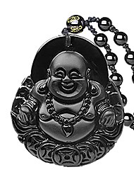 cheap -pure natural black obsidian amulet pendant laughing buddha gemstone necklace good luck protection crystal pendant
