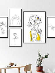 cheap -Wall Art Canvas Prints Painting Artwork Picture Sketch People Woman Portrait Home Decoration Décor Rolled Canvas No Frame Unframed Unstretched