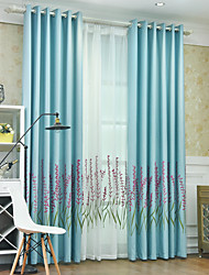 cheap -Window Curtain Window Treatments 2 Panels Room Darkening Floral/Flower for Living Room Bedroom
