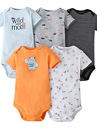 cheap -5 Pieces Baby Unisex Basic Striped Letter Print Short Sleeves Romper Rainbow