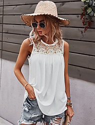 cheap -Women's Tank Top Vest Plain Lace Round Neck Basic Streetwear Tops Cotton Gray White Black