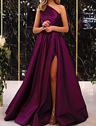 cheap -A-Line Minimalist Elegant Engagement Formal Evening Dress One Shoulder Sleeveless Floor Length Satin with Pleats Split 2021