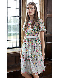 cheap -A-Line Flirty Floral Holiday Homecoming Dress High Neck Short Sleeve Knee Length Lace with Embroidery 2021