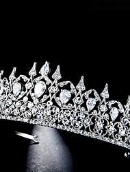 cheap -FORSEVEN Elegant Shining Crystal Tiaras Crowns Royal Princess Diadem Zircon Headpeice Bridal Wedding Hair Jewelry Accessories JL