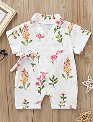 cheap -Baby Girls' Basic Floral Animal Print Long Sleeve Romper Blue Yellow Blushing Pink