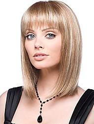 "cheap -14"" natural fashion straight hair short wig with air bangs bob wig, blonde wig , natural heat-resistant synthetic wig"