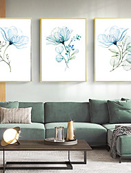 cheap -Wall Art Canvas Prints Painting Artwork Picture Plant Blue Floral Home Decoration Décor Rolled Canvas No Frame Unframed Unstretched