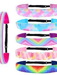 cheap -6 Pcs/set Children's Tie and Dye Hair Band Gradient Rainbow Hair Lead Band Sports Anti-skid Hair Hoop Headdress