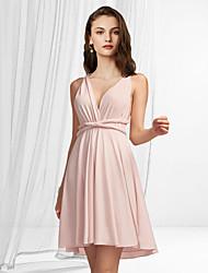 cheap -A-Line Flirty Minimalist Homecoming Graduation Dress V Neck Sleeveless Short / Mini Chiffon with Pleats 2021