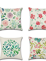 cheap -Floral Botanical Double Side Cushion Cover 1PC Soft Decorative Square Throw Pillow Cover Cushion Case Pillowcase for Bedroom Livingroom Superior Quality Machine Washable Outdoor Cushion for Sofa Couch Bed Chair