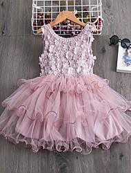 cheap -Kids Little Girls' Dress Flower Party Wedding Ruffle Tutu Mesh Embroidered White Blue Blushing Pink Knee-length Sleeveless Elegant Princess Dresses