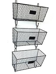 cheap -3pcs Wire Letter Mail Mount Metal Rack Basket Vintage Triple Organizer Black Furniture