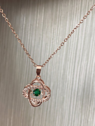 cheap -Women's Green Cubic Zirconia Charm Necklace Floating Locket Elegant Sweet Titanium Steel Rose Gold 40 cm Necklace Jewelry 1pc For Wedding Gift Festival