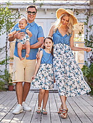 cheap -Dress Blouse Family Look Floral Solid Colored Daily Print Blue Short Sleeve Maxi Casual Matching Outfits