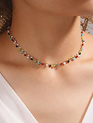 cheap -bohemian colorful beaded choker necklace tiny star collar necklace dainty diamond-cut crystal necklace boho summer beach jewelry gift for women teens girls
