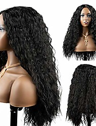 cheap -black long wigs natural wavy heat resistant synthetic hair mimic scalp wig for black women (21 inch)