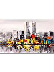 cheap -Oil Painting Handmade Hand Painted Wall Art Mintura Modern Abstract City Landscape Home Decoration Decor Rolled Canvas No Frame Unstretched