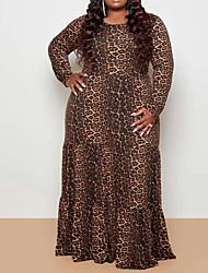 cheap -Women's Wrap Dress Maxi long Dress Leopard Print Long Sleeve Leopard Print Spring Summer Sexy 2021 1XL L 2XL 3XL 4XL 5XL