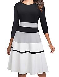 cheap -Women's Sheath Dress Knee Length Dress Black 3/4 Length Sleeve Striped Fall Spring Elegant 2021 S M L XL XXL