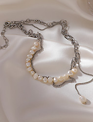 cheap -french freshwater pearl necklace niche design sense stacking double layer retro chain tassel clavicle chain necklace female trend