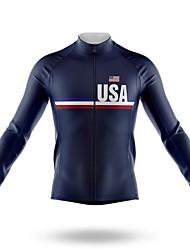 cheap -21Grams Men's Long Sleeve Cycling Jersey Spandex Dark Navy American / USA Bike Top Mountain Bike MTB Road Bike Cycling Quick Dry Moisture Wicking Sports Clothing Apparel / Athleisure
