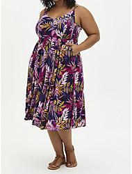 cheap -Women's Plus Size Dress Strap Dress Midi Dress Sleeveless Leaf Print Casual Spring Summer Rose Red XL XXL 3XL 4XL 5XL