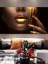 cheap -Wall Art Canvas Prints Painting Artwork Picture Gold Lips Woman Home Decoration Décor Rolled Canvas No Frame Unframed Unstretched