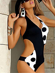 cheap -Women's One Piece Monokini Swimsuit Polka Dots Water ripple Big dot Swimwear Bathing Suits New