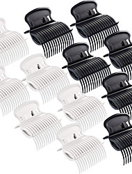 cheap -12 Pieces Hot Roller Clips Hair Curler Claw Clips Replacement Roller Clips for Women Girls Hair Section Styling (White Black)