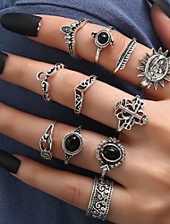 cheap -Women's Black Gemstone Ring Set Vintage Style Sun Crown Laugh Stylish Ethnic Vintage European Trendy Earrings Jewelry Silver For Anniversary Party Evening Street Prom Festival