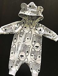 cheap -Baby Boys' Romper Active Cotton Gray Fox Bear Print Long Sleeve / Summer