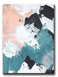 cheap -Oil Painting Handmade Hand Painted Wall Art Rectangle Blue White Black Pink Abstract Bedroom Decoration Paintings Home Decoration Decor Stretched Frame Ready to Hang