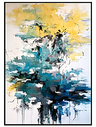 cheap -Oil Painting Handmade Hand Painted Wall Art Modern Yellow and Blue  Picture Abstract Large Size Home Decoration Decor Rolled Canvas No Frame Unstretched