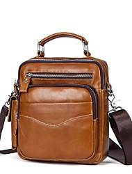 cheap -Men's Bags Nappa Leather Cowhide Crossbody Bag Zipper Daily Handbags Brown