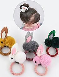 cheap -7 Pcs/set Cute Animal Hair Ball Rabbit Hair Ring Female Elastic Band Elastic Hair Bands Korean Headwear Kids Hair Accessories Ornaments