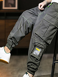 cheap -Men's Stylish Sporty Cargo Casual / Sporty Streetwear Comfort Breathable Sports Pants Tactical Cargo Daily Sports Pants Letter Full Length Pocket Elastic Waist Multiple Pockets ArmyGreen Black