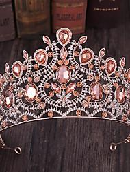 cheap -FORSEVEN Vintage Baroque Wedding Tiaras Handmade Water Drop Rhinestone Bridal Crown Tiara Women Wedding Hair Accessories JL