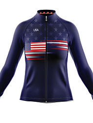 cheap -21Grams Women's Long Sleeve Cycling Jersey Spandex Blue American / USA Bike Top Mountain Bike MTB Road Bike Cycling Quick Dry Moisture Wicking Sports Clothing Apparel / Stretchy / Athleisure