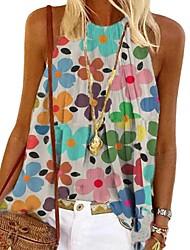 cheap -Women's Floral Theme Tank Top Vest Flower Print Halter Neck Basic Streetwear Tops Cotton Rainbow