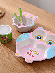 cheap -Bamboo Fiber Children's Cutlery Set Cartoon Bowl Grid Baby Dinner Plate Spoon Fork Cup Five-Piece Gift Cutlery Baby Tableware Environmental Friendly