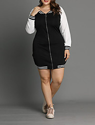 cheap -Women's Plus Size Dress Shift Dress Knee Length Dress Long Sleeve Solid Color Basic Fall Winter Black L XL XXL 3XL 4XL